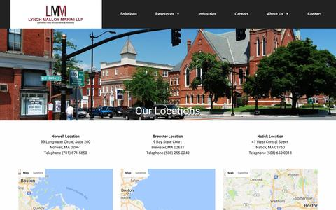 Screenshot of Locations Page lmmcpas.com - Our Locations - Lynch Malloy and Marini - captured Nov. 14, 2016