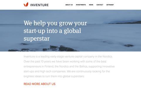 Screenshot of Home Page inventure.fi - Inventure - Venture Capital in Finland, the Nordics & the Baltics - captured Sept. 30, 2014
