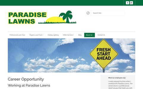 Screenshot of Jobs Page paradise-lawn.com - Omaha lawn company employment opportunities - Paradise Lawns - captured Oct. 31, 2018