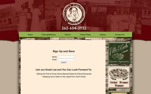 Screenshot of Signup Page carlspizza.com - Sign Up & Save | Carl's Pizza | Kenosha, WI - captured Sept. 29, 2014