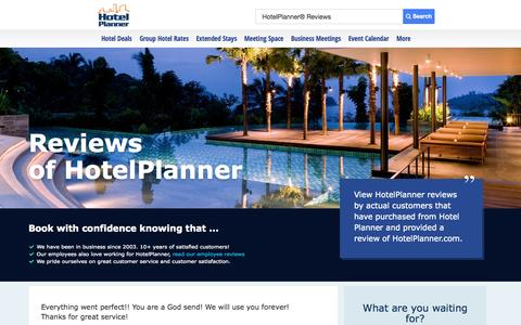 Screenshot of Testimonials Page hotelplanner.com - HotelPlanner® Reviews - Read recent reviews and ratings of Hotel Planner - captured Oct. 22, 2014