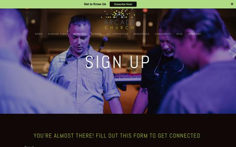 Screenshot of Signup Page arcadechurchonline.com - Sign Up — Arcade Church - captured Oct. 8, 2017