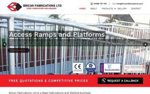 Screenshot of Home Page bricanfabrications.com - Steel Fabrication & Welding | Brican Fabrications - captured Oct. 11, 2017
