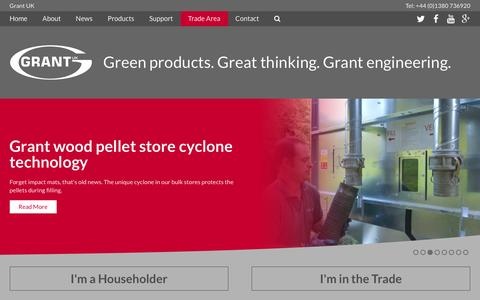 Screenshot of Home Page grantuk.com - Oil & Biomass Boilers, Solar & Thermal Products from Grant UK - captured Jan. 31, 2016