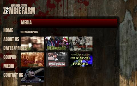 Screenshot of Press Page zombiefarm.net - Newburgh Civitan Zombie Farm Media - captured April 9, 2017