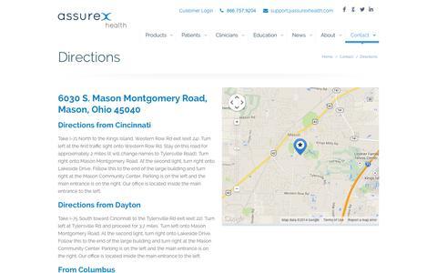 Screenshot of Maps & Directions Page assurexhealth.com - DirectionsAssurex Health - captured Sept. 13, 2014
