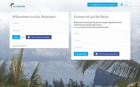 Screenshot of Signup Page permondo.com - permondo erzählt die Geschichte deiner Reise - captured Jan. 20, 2016
