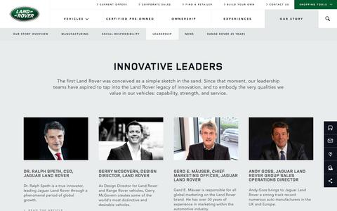 Screenshot of Team Page landroverusa.com - Innovative Leaders | Land Rover USA - captured Feb. 24, 2016