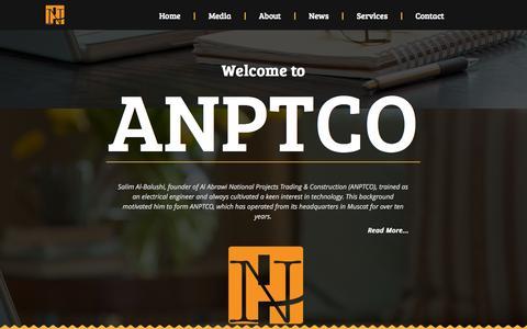 Screenshot of Home Page anptco.com - Welcome to ANPTCO - captured Oct. 4, 2014