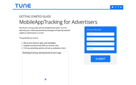 Screenshot of Landing Page tune.com - White Paper: MobileAppTracking: Getting Started Guide - captured Sept. 27, 2016