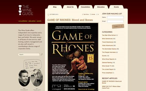 Screenshot of Home Page thewineguide.com.au - The Wine Guide Blog - Latest Blog Entries - captured Sept. 26, 2014