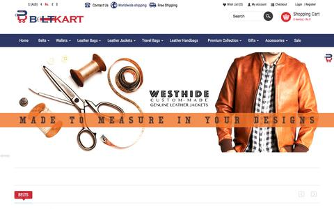 Screenshot of Home Page beltkart.com - Buy Leather Laptop Bags, Jackets, Handbags & Belts Online | BeltKart - captured Oct. 30, 2017