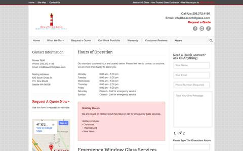 Screenshot of Hours Page beaconhillglass.com - Hours of operation - Beacon Hill Glass 206-372-4186 - captured Oct. 5, 2014