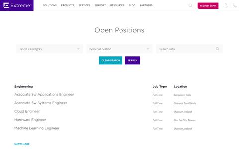 Screenshot of Jobs Page extremenetworks.com - Careers - Extreme Networks - captured Aug. 15, 2019