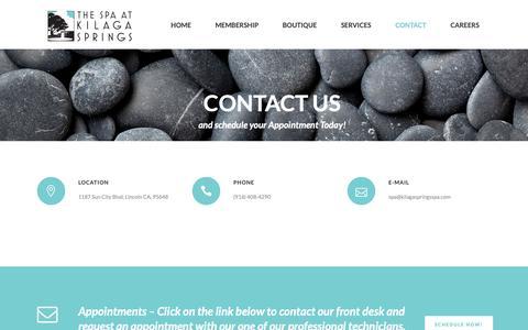 Screenshot of Contact Page kilagaspringsspa.com - Contact - Kilaga Springs SPA - captured Oct. 18, 2018