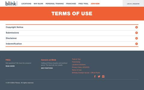 Screenshot of Terms Page blinkfitness.com - terms of use - captured Jan. 6, 2016