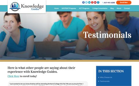 Screenshot of Testimonials Page knowledgeguides.net - Testimonials | Knowledge Guides - captured Aug. 9, 2016
