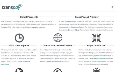 Screenshot of Services Page trans-pay.com - Mass Payout Provider - Global Payments | transpay - captured Nov. 5, 2014