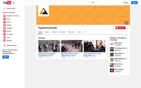 Screenshot of YouTube Page youtube.com - TogetherColorado  - YouTube - captured Oct. 22, 2014