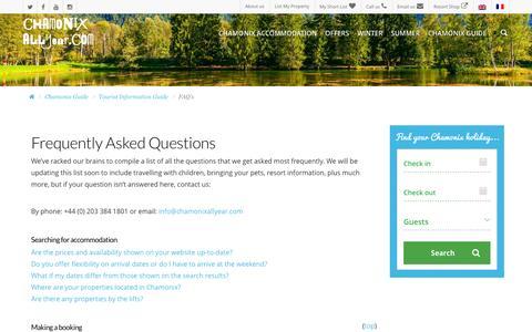 Screenshot of FAQ Page chamonixallyear.com - FAQ's | Tourist information guide - Chamonix All Year - captured Dec. 8, 2015