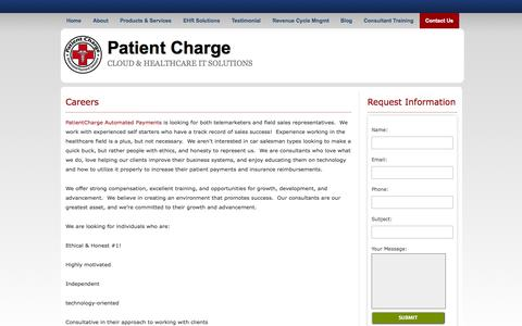 Screenshot of Jobs Page patientcharge.com - Careers | Patient Charge - captured Sept. 30, 2014