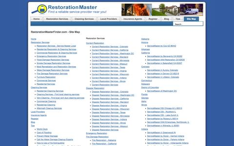 Screenshot of Site Map Page restorationmasterfinder.com - RestorationMasterFinder.com - Site Map - captured Sept. 19, 2014