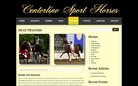 Screenshot of Services Page clsporthorses.com - Services   Centerline Sport HorsesCenterline Sport Horses - captured Oct. 2, 2014