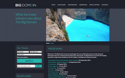 Screenshot of Press Page thebigdomain.com - Press News from The Big Domain - captured Sept. 30, 2014