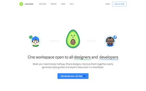 Screenshot of Home Page avocode.com - Avocode - Collaboration tool for designers and developers - captured April 1, 2016