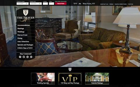 Screenshot of Home Page thethayerhotel.com - West Point Hotels - Hudson Valley Hotels - captured Sept. 12, 2015