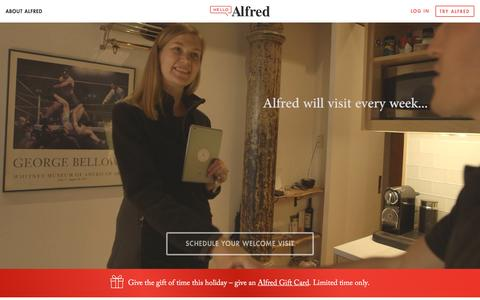 Screenshot of Home Page helloalfred.com - Alfred   Home - captured Dec. 1, 2015