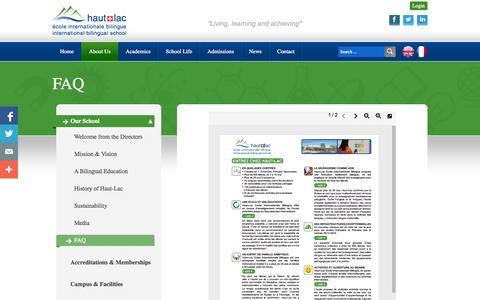 Screenshot of FAQ Page haut-lac.ch - FAQ   Haut-lac Biligual International School - Vevey - Switzerland - captured Oct. 2, 2014