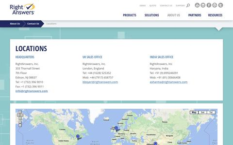 Screenshot of Locations Page rightanswers.com - Headquarters, Worldwide Contacts, Office Locations - RightAnswers - captured Sept. 12, 2014