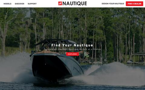 Screenshot of Home Page nautique.com - Nautique Wake Boats, Ski Boats, Water Skiing, Wake Surfing and Wakeboarding Boats by Correct Craft - captured Sept. 16, 2019