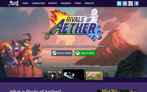 Screenshot of Home Page rivalsofaether.com - Rivals of Aether - captured Dec. 5, 2018