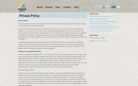 Screenshot of Privacy Page nonstop-games.com - Privacy Policy | Nonstop Games - captured Sept. 16, 2014