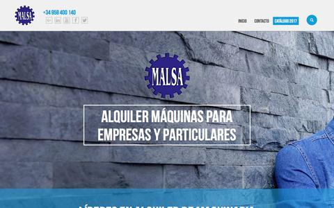 Screenshot of Home Page malsa.es - Malsa - Líderes en alquiler de maquinaria - captured Sept. 21, 2017