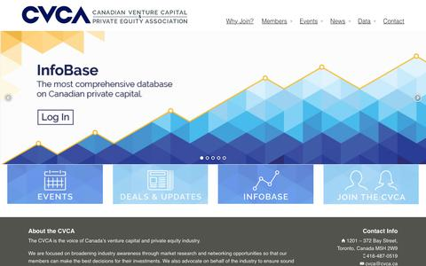 Screenshot of Home Page cvca.ca - Canadian Venture Capital and Private Equity Association - captured July 10, 2017