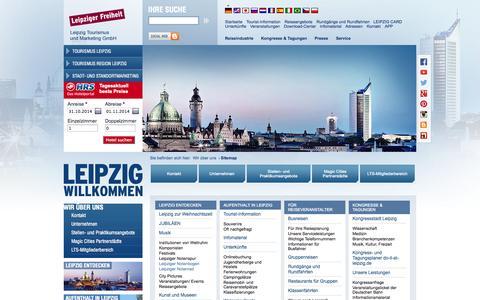 Screenshot of Site Map Page leipzig.travel - Wir über uns | Leipzig Tourismus und Marketing GmbH - captured Oct. 31, 2014