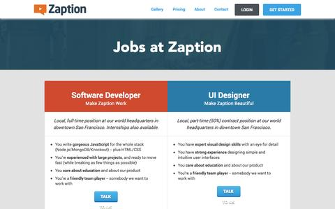 Screenshot of Jobs Page zaption.com - Jobs at Zaption - captured Oct. 27, 2014