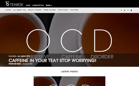 Screenshot of Blog teabox.com - Tea Stories   Best Tea Blog   Still Steeping - The Teabox Blog - captured Jan. 9, 2016