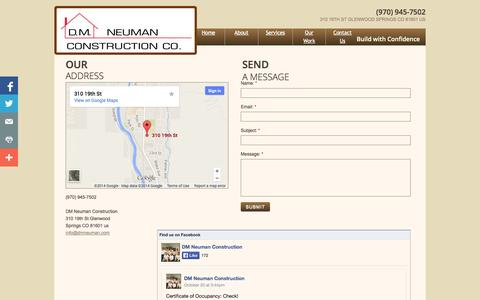 Screenshot of Privacy Page Contact Page dmneuman.com - Custom Homes, Renovation, Commercial & Multi-Family - captured Oct. 23, 2014