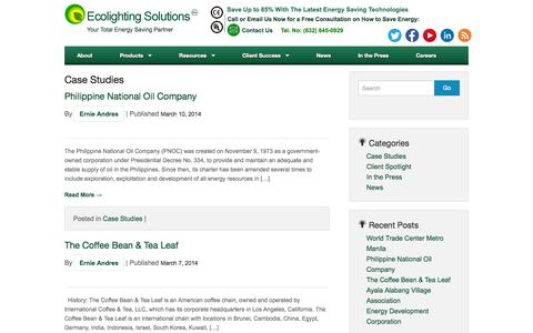 Screenshot of Case Studies Page els.ph - Case Studies Archives - Ecolighting Solutions - captured Oct. 1, 2014