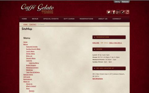 Screenshot of Site Map Page caffegelato.net - SiteMap | Caffé Gelato - captured Oct. 1, 2014