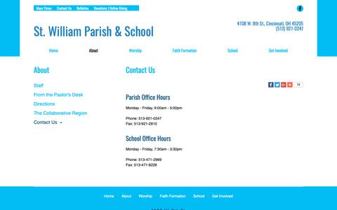 Screenshot of Contact Page saintwilliam.com - St. William | Contact Us | Cincinnati, OH - captured Oct. 31, 2018