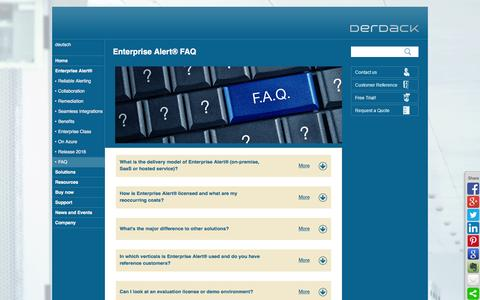 Screenshot of FAQ Page derdack.com - Enterprise Alert® FAQ - Frequently Asked Questions - captured Jan. 7, 2016