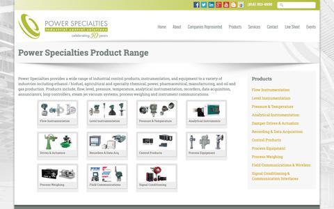 Screenshot of Products Page powerspecialties.com - Power Specialties Product Range - captured Sept. 29, 2018