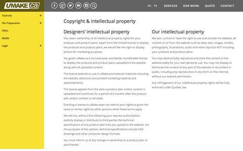 Screenshot of Terms Page umake.ca - Copyright & intellectual property | uMake.ca manufacturing partner Montreal Canada #umakefactory - captured Nov. 28, 2016