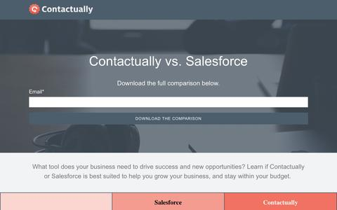Screenshot of Landing Page contactually.com - Contactually vs Salesforce Product Comparison - captured July 30, 2016