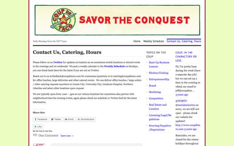 Screenshot of About Page coupdetaco.com - Contact Us, Catering, Hours | Coup de Taco: Savor the Conquest! - captured Sept. 30, 2014